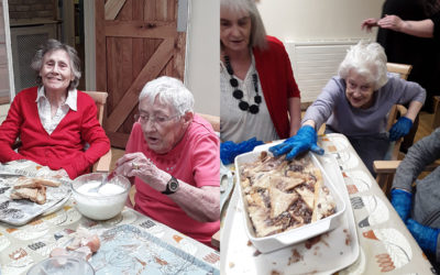 Making bread and butter pudding at Lulworth House Residential Care Home