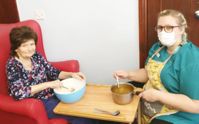 Making Cappuccino cakes at Lulworth House Residential Care Home