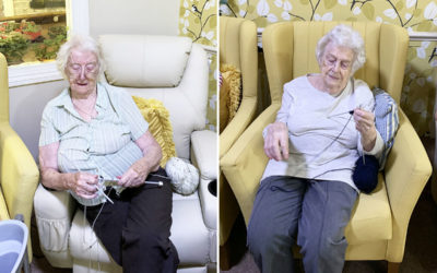 Pom poms and knitting at Lulworth House Residential Care Home
