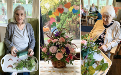 Creative flower arrangements at Lulworth House Residential Care Home