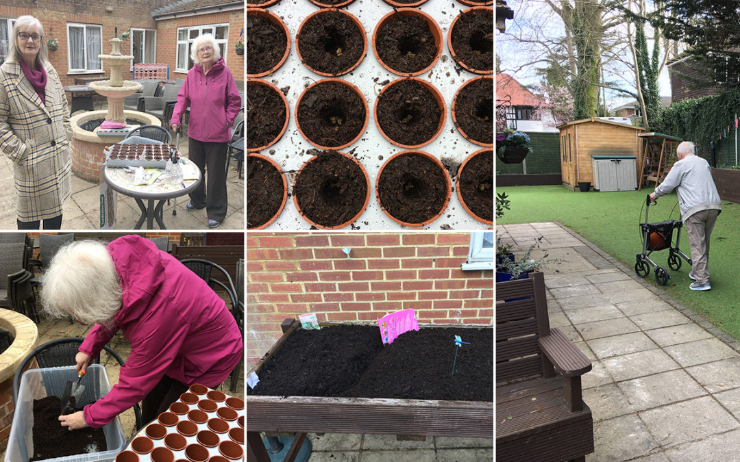 Enjoying the garden at Lulworth House Residential Care Home