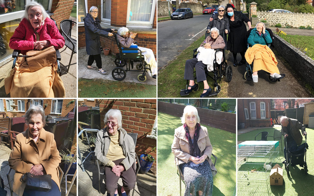 Enjoying sunshine and fresh air at Lulworth House Residential Care Home