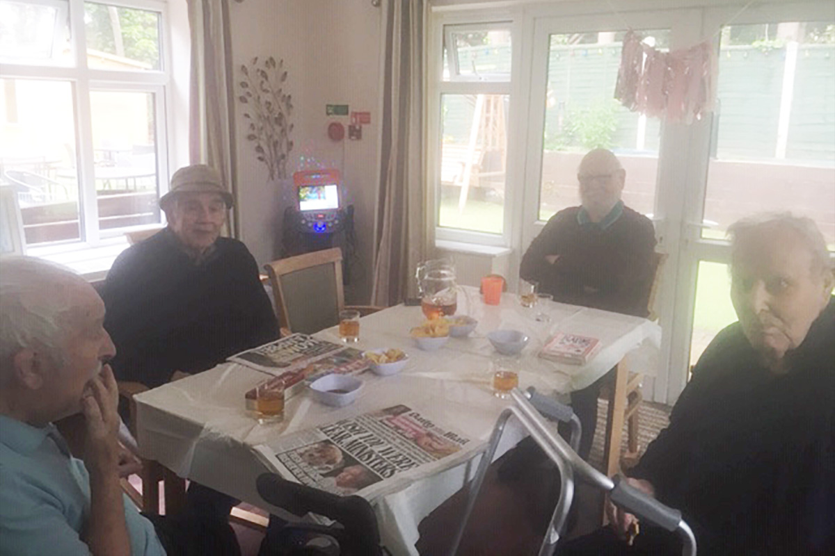 Lulworth House Residential Care Home men enjoy their Gentlemens Club