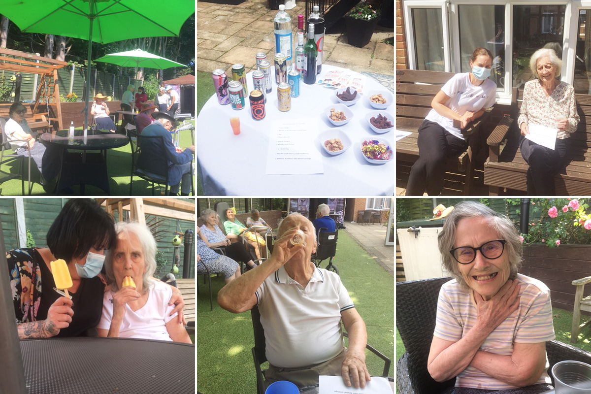 Ice creams and beer tasting in the garden at Lulworth House Residential Care Home