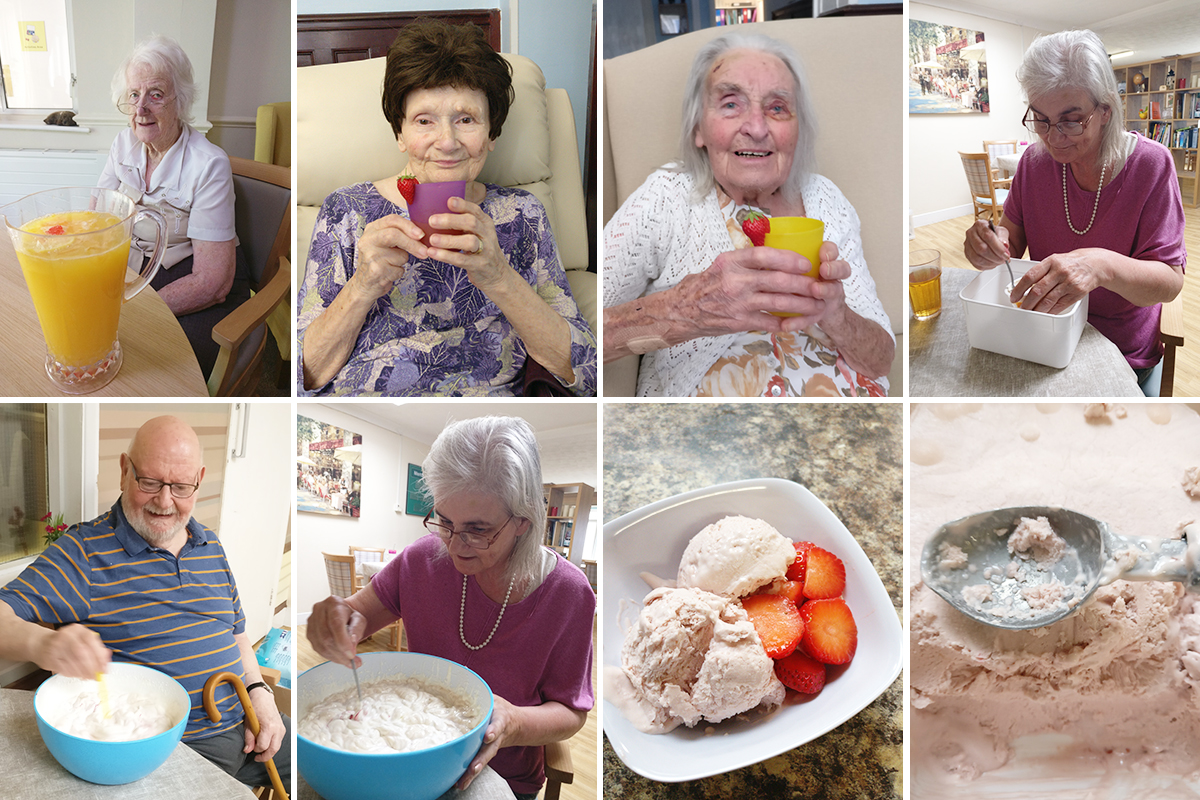 Making mocktails and ice cream at Lulworth House Residential Care Home