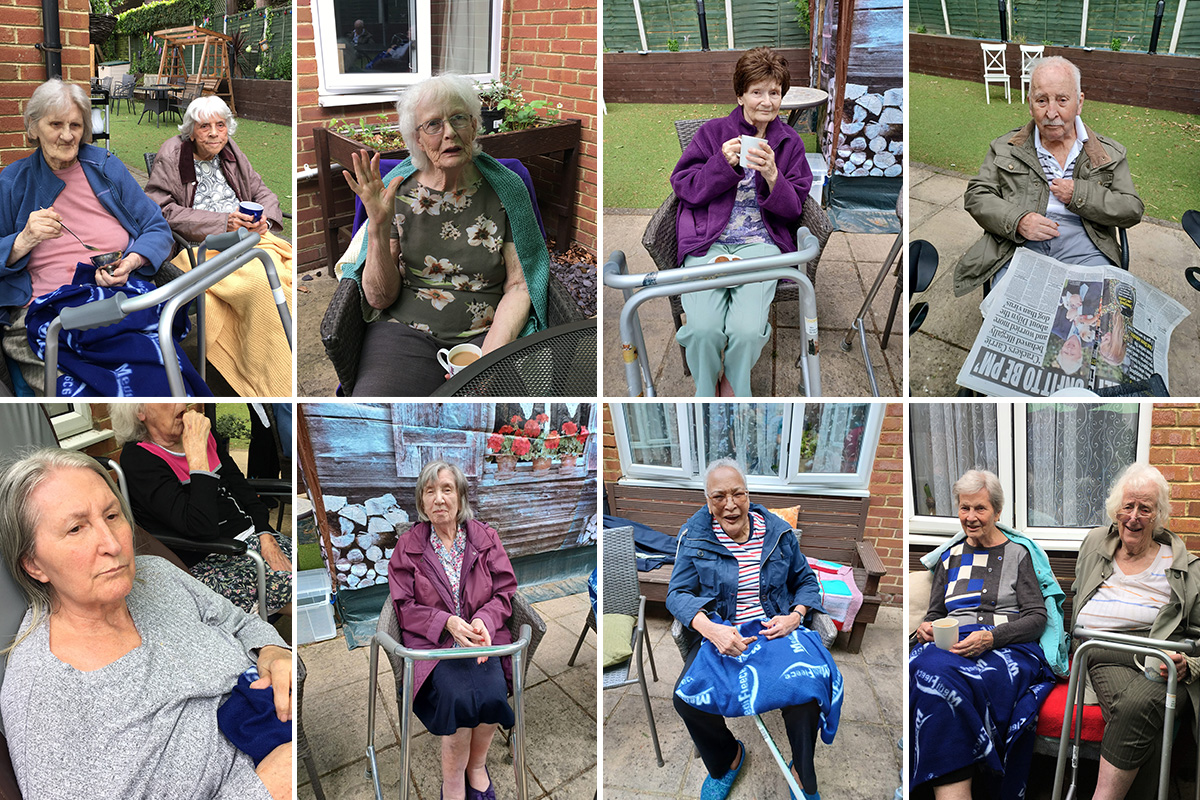 Music and dancing in the garden at Lulworth House Residential Care Home