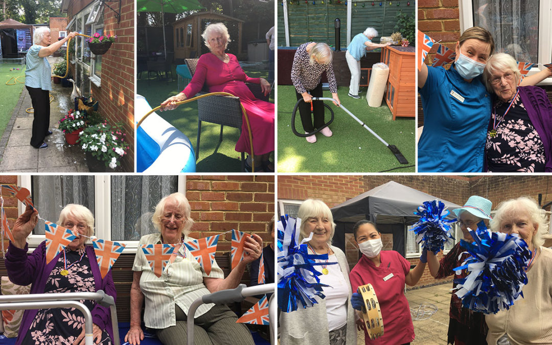 Keeping busy in the garden at Lulworth House Residential Care Home