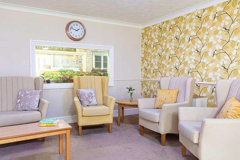 Lulworth House Yellow Lounge Area