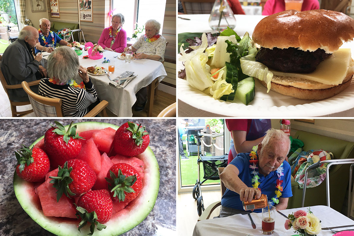 Residents enjoying Caribbean BBQ food and drinks at Lulworth House Residential Care Home