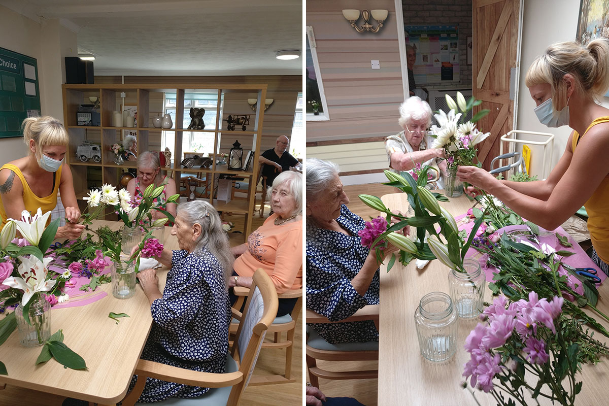 Residents flower arranging at Lulworth House Residential Care Home