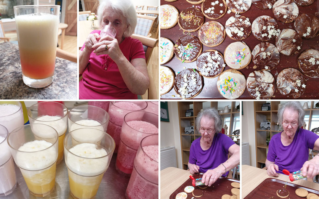 Smoothies and biscuit decorating at Lulworth House Residential Care Home
