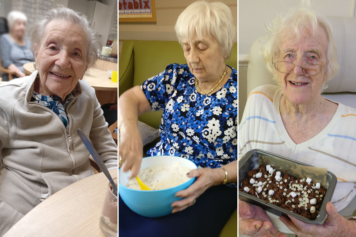 Lulworth House Residential Care Home ladies enjoying creating treats at baking club