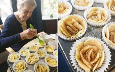 Apple roses being made by a resident during Lulworth House Residential Care Home's Baking Club