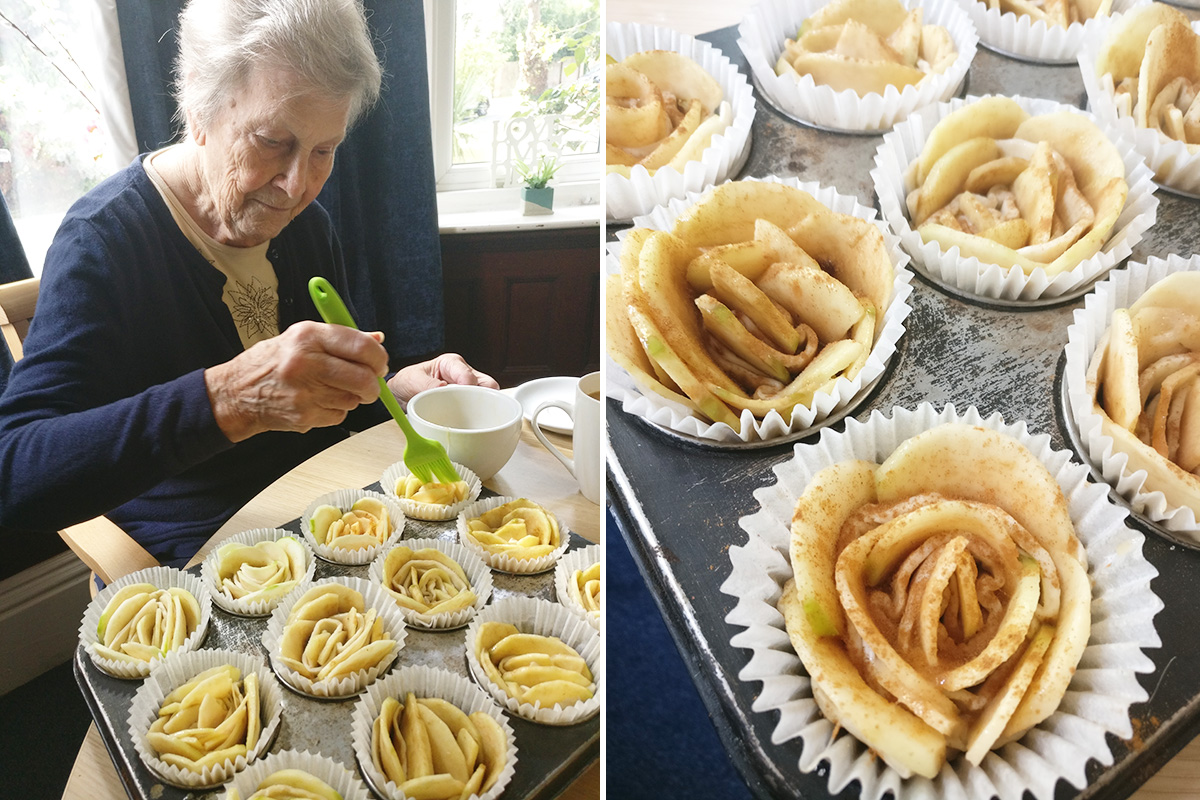 Apple roses and delicious cakes at Lulworth House Residential Care Home Baking Club