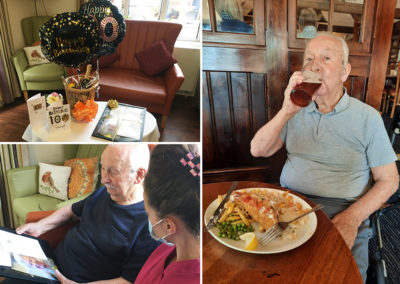Lulworth House Care Home resident on his 100th birthday enjoying a pub lunch