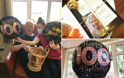 Lulworth House Care Home resident on his 100th birthday