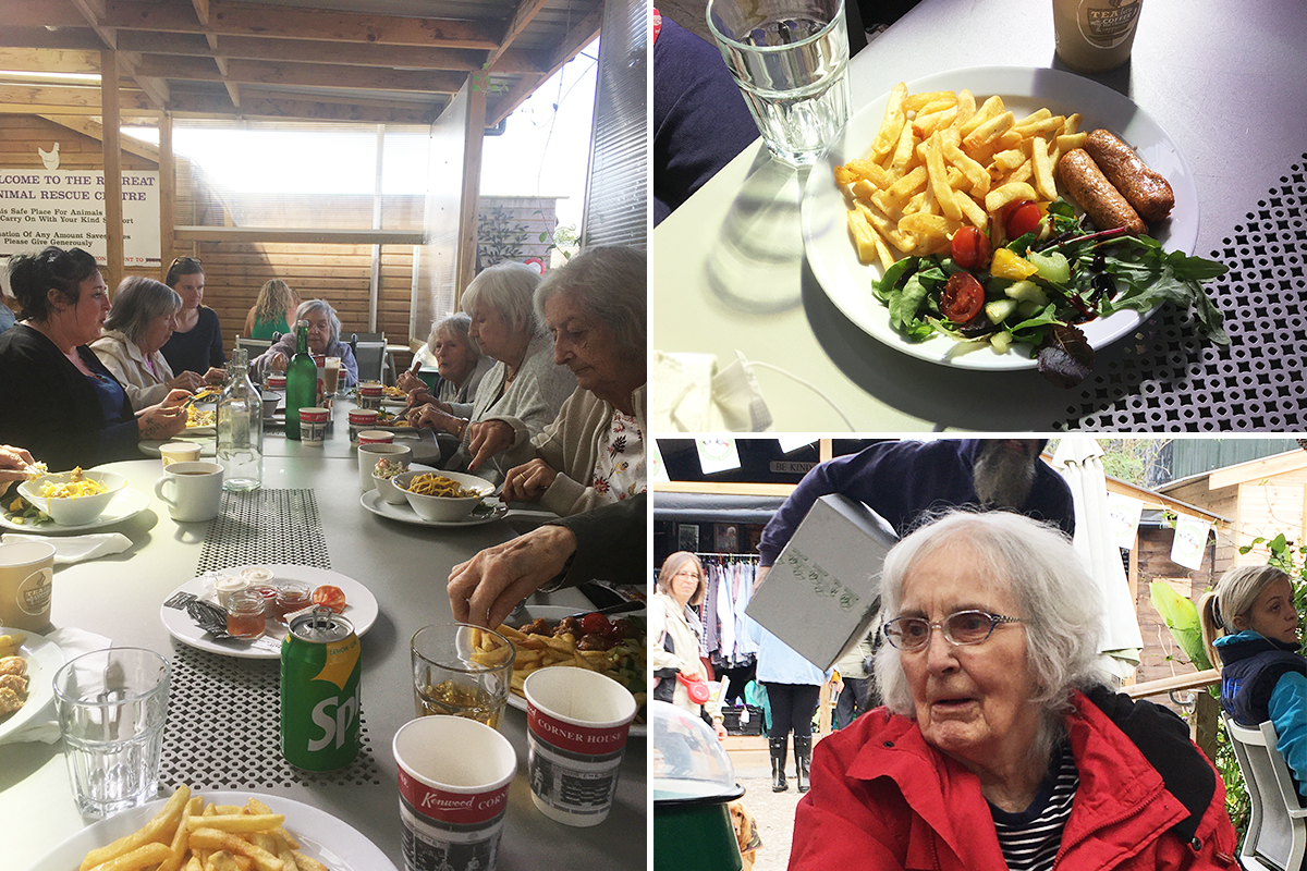 Lulworth House Residential Care Home residents having lunch together at a local farm