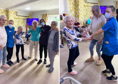 Lulworth House Residential Care Home residents and staff dancing together