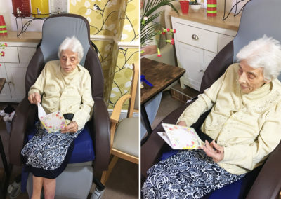 Lulworth House Residential Care Home reading her birthday cards